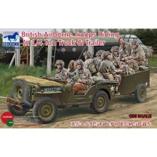 British Airborne Troops Riding In 1/4 Ton Truck & Trailer 1:35