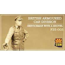 British Armoured Car Division Serviceman with a shovel 1:35