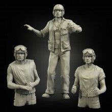 USMC (PTO) late Sherman tank crew (3 figures)