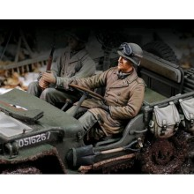 U.S. Jeep driver U.S. Infantry at rest with rifle (WWII)